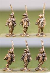 Continentals in Rifle sShirts, Round Hats, Advancing Shoulder Arms