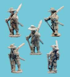 Musketeers Shouldered Muskets with Hats