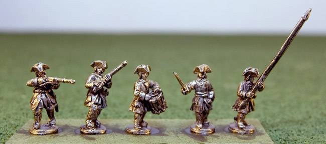 Dismounted Dragoons with Command in tricorns