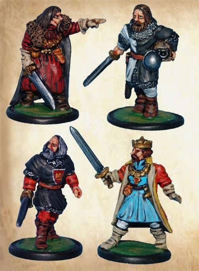 Sheriff of Nottingham, Sir Guy, Prince John, and the Abbott of Black Cannons