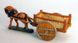 Flat Cart - wicker sides with wooden wheels