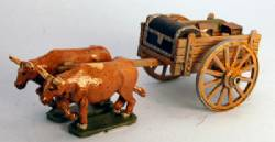 Ox Cart with supplies and spoked wheels